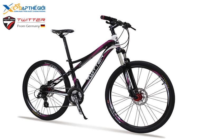Xe đạp thể thao Twitter TW-VES.H Đen pha Tím - Trắng