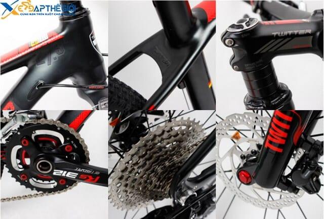 Chi tiết các bộ phận xe đạp thể thao Twitter Blackhawk