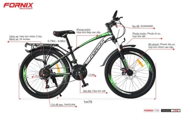 Chi tiết bộ phận xe đạp thể thao Fornix T24 màu đen xanh lá